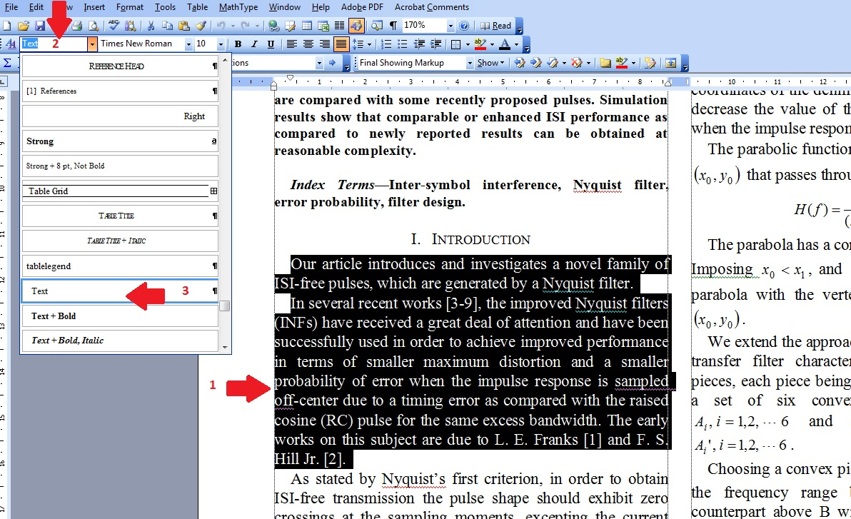 text formatting in ms word 2007 pdf
